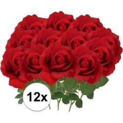 12x Kunstbloem roos Carol rood 37 cm