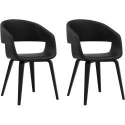 24Designs Nola Stoel - Set Van 2 - Zwart Kunstleer - Zwarte Houten Poten