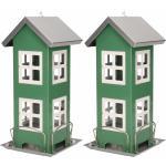 2x Stuks vogel voeder huisje voor vogelzaad groen metaal 27 cm