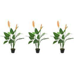 3x Groene Strelitzia/paradijsvogel kunstplanten 110 cm in pot
