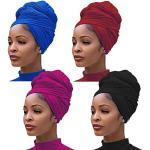 4 Stuks Stretch Jersey Tulband Hoofd Wrap Gebreide Headwraps Stedelijke Haar Sjaal Effen Kleur Ultra Zachte Extra Lange Ademend Hoofd Band Tie voor Meisje Vrouwen
