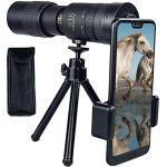 4K 10-300x40mm Super Telelen Zoom Monoculaire Telescoop, met Smartphone Houder & Tripod Night Vision Monocular met telefoonclip, statief, zwart-met clip