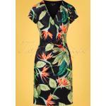 50s Doreen Tropical Pencil Dress in Black