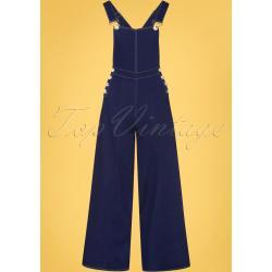 50s Thelma Denim Dungarees in Navy