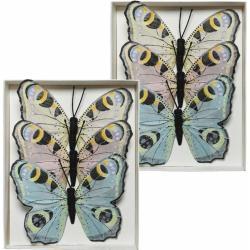 6x Dagpauwoog vlinders decoraties 9 x 12 cm op draad