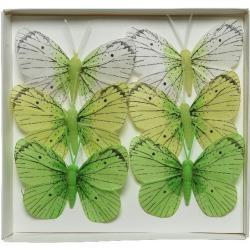 6x Decoratie vlindertje wit/groen 6 x 8 cm op ijzerdraad