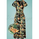 70s Frenny Pineapple Maxi Dress in Black
