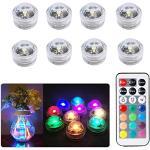 8 stuks onderwater-led-lampen, waterdichte onderwaterverlichting, SMD 3528 RGB sfeerverlichting voor vaas, schalen, aquarium en feestdecoratie, IR-afstandsbediening