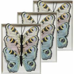 9x Dagpauwoog vlinders decoraties 9 x 12 cm op draad