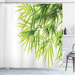 ABAKUHAUS Bamboe Douchegordijn, Bamboo Leaf Peace, stoffen badkamerdecoratieset met haakjes, 175 x 220 cm, Groen Wit