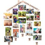 ALBERTU Chalet fotolijst Opknoping Photo Display Wandclip Foto-houder DIY Foto Frame Collage Inclusief Kettingen en 28 Houten Clips