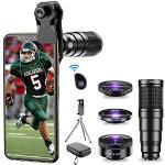 APEXEL-22x telelens / lens 205° Fisheye / groothoeklens 120° / macrolens 20x/ statief en remote activeringser voor iPhone Samsung, Huawei en vele andere