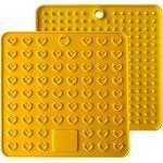 Baomasir 2 stuks siliconen isolatiemat ruimte levensmiddelenkwaliteit Honeycomb pannenlappen antislip hittebestendige placemats voor Pot Pan Bowl Cup,Geel