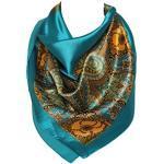 Bloemmotief Bandana Sjaal Zijden Satijn Vierkante Hals Hoofdomslag (Blauw)