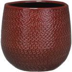 Bloempot bordeaux rood ribbels keramiek voor kamerplant H12 x D14 cm -