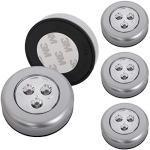 Briloner lampen - Set van 5 Stick&Push LED Touch lamp, werkt op batterijen, nachtlampje zelfklevend (3M merklijm), keukenlampen, kastverlichting