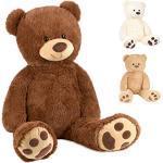 BRUBAKER XXL Teddybeer 100 cm Groot - Bruin - Knuffel Pluche Knuffeldier