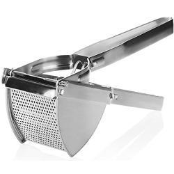 COM-FOUR® aardappelpers van roestvrij staal, vaatwasmachinebestendig - spaetzle-pers - spaghetti-ijspers - aardappelstamper - lengte 30 cm (zilverkleurig - brede handgreep)