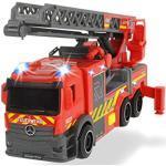 Dickie Toys 203714011 Brandweerauto met draailadder, Rosenbauer brandweer, licht & geluid, incl. batterijen, uittrekbare ladder, vrijloop, rood