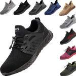 DRECAGE Veiligheidsschoenen voor dames en heren, werkschoenen, stalen neus, beschermende schoenen, licht, sportieve sneakers, zwart, 42 EU