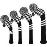 EDWARD & CO. Brei Woods Golf Head Covers, Set van 4, Fit Driver (460CC) Fairways hybrid/UT. zacht en warm, Houd Club schoon. (zwart wit Gingham)