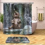 Fansu Douchegordijn met 12 Haken Anti Mould Proof Waterdicht, 3D Olifant Print Badkamer Gordijnen Wasbaar Polyester Cartoon Creatieve Woonaccessoires Decor (120x180cm, G)
