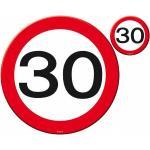 Folat placemat/onderzetter set verkeersbord 30 rood/wit 8-delig - Zwart,Wit,Rood
