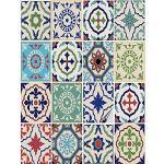 FoLIESEN tegelstickers - tegelstickers badkamer - tegelsticker keuken - Patchwork No.3 - 16 plaktegels, BxH:15x20 cm