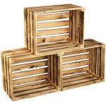 Gevlamde houten kist FLAMED-BOX, wijnkist, fruitkist, decoratiedoos, Vintage Shabby Chic Look Retro opbergdoos, brandhoutkist, wandplank