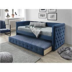 Gewatteerde slaapbank LOUISE - 2 x 90 x 190 cm - Stof blauw