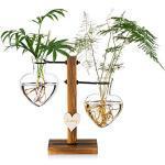 Glazen Bud Vaas met Houten Stand, Creatieve Enkele Hart Glas Hydroponische Vazen, Moderne Plant Propagation Station Desktop Planter Lamp Vaas voor Home Garden Office Decoratie