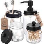 Groust Mason Jar Zeepdispenser, badkamerset, badkameraccessoires, set inclusief zeepdispenser, houder en tandenborstelhouder, rustieke landhuisdecoratie, badkamerorganizer