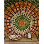 Guru-Shop Boho Stijl Wandbekleding, Indiase Bedsprei Mandala Print - Groen/oranje, Katoen, 220x205 cm, Mandala Bedspreien Handdoeken