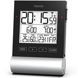 """Hama Radio wekker Digital """"Black Line"""" (digitale wekker met speed-alarm, 2 wektijden en sluimerfunctie, weergave van datum, binnentemperatuur en luchtvochtigheid, incl. batterijen) zwart"""