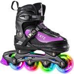 Hiboy Verstelbare inline skates met alle verlichte wielen, verlichte outdoor- en indoor-rolschaatsen voor jongens, meisjes, beginners, paars, maat 34-37