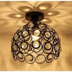 iDEGU Moderne plafondlamp kroonluchter lampenkap van kristal en metaal LED hanglamp vintage industriële E27 plafondlamp binnendecoratie voor slaapkamer hal - zwart, 26 cm