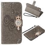 IMEIKONST Geprägt Case für iPhone 5S Hülle Eule Funkelnd Gems Diamanten Brieftasche Kartenfächern PU Leder Magnetic Ständer Schutzhülle Handyhülle für iPhone 5S / 5 Owl Grey YK