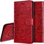 IMEIKONST Nokia 6.1 Plus Hoesje Mandala Phone Hoesjes Premium PU Lederen Flip Notebook Wallet Kaarthouder Magnetisch Staan Telefoon Hoesje voor Nokia X6 Mandala Red LD
