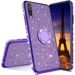 IMEIKONST Samsung A30S Hoesje Glitter Sparkly Diamanten Roterende Ring Staan Silicon TPU Shockproof Beschermend Telefoonhoesje Ultradun Hoes voor Samsung Galaxy A50 / A50S Bling Purple KDL
