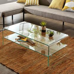 Kave Home Glazen Salontafel 'Burano' met onderplank, 110 x 55 cm