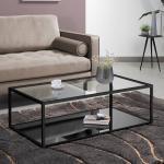 Kave Home Salontafel 'Blackhill' Glas met zwart frame, 110 x 60cm