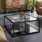 Kave Home Salontafel 'Blackhill' Glas met zwart frame, 80 x 80cm