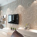 KeTian Moderne Luxe 3D Abstracte Curve Behang Niet-geweven Vloeiende Strips voor Woonkamer/Slaapkamer Behang Roll 0,7 m (2,29 'W) x 8,4 m (27,56 'L) = 5,88 ㎡ (63,11 sq.ft) (Crème & Zilver & Grijs)