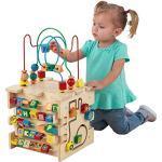KidKraft 63298 Deluxe Activity Cube, houten kubus met kralendoolhof, voor baby's en grotere kinderen om kleuren, vormen, letters en getallen te leren kennen