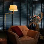 Klassieke vloerlamp brons met witte kap verstelbaar - Ladas Fix