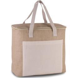Koelbox/koeltas jute/canvas XL beige 20 liter -