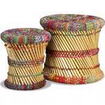 Krukken Met Chindi Details 2 St Bamboe Meerkleurig