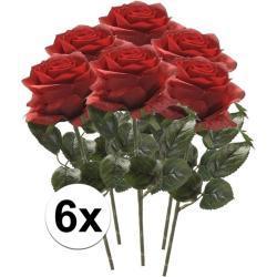 Kunstbloem roos Simone rood 45 cm 6 stuks