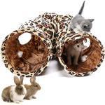 LeerKing kattentunnel kattenspeelgoed opvouwbaar speeltunnel knetterend ritseltunnel voor alle katten en kleine dieren 2 grotten 130 30cm