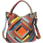 Leren kleurrijke Crossbody tassen Vrouwen Multi Way Colour Block Bag, Hobo Bag Dames Zachte Tote Bag - Uw eigen stijl, Multi-colored-OneSize